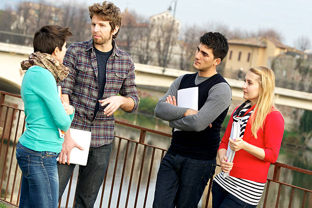 Multicultural College Students at Park stock photo
