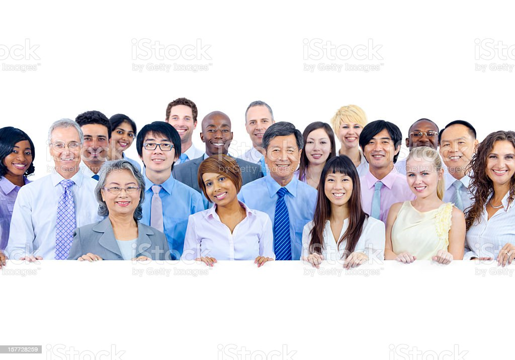 Multicultural crowd of businessmen and women royalty-free stock photo