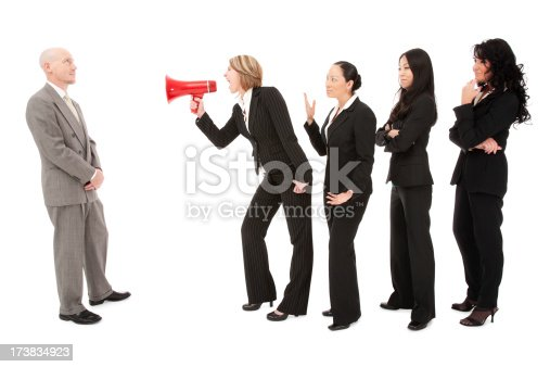 istock Multicultural diverse business team communicating frustration women man isolated 173834923