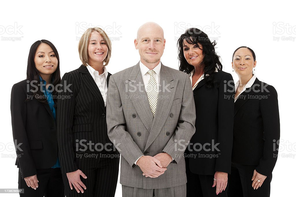 Multicultural diverse business team five adults woman man professional attire royalty-free stock photo