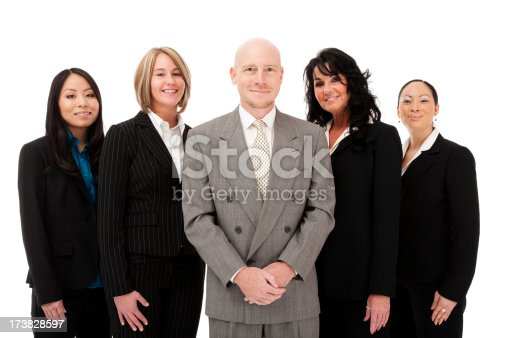 istock Multicultural diverse business team five adults woman man professional attire 173828597
