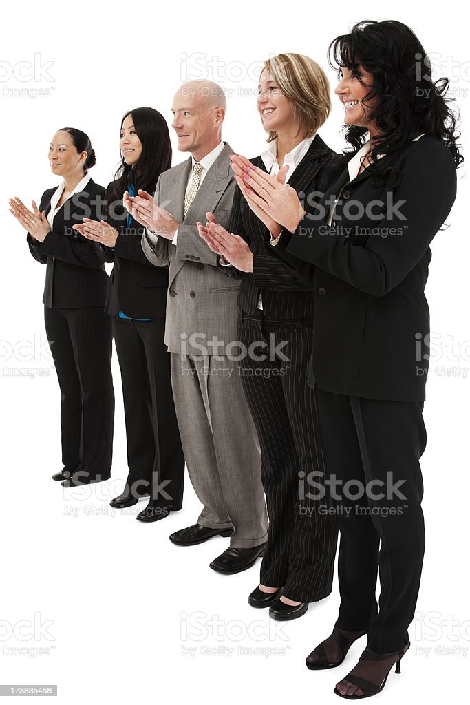 Multicultural diverse business team in a row clapping women man royalty-free stock photo
