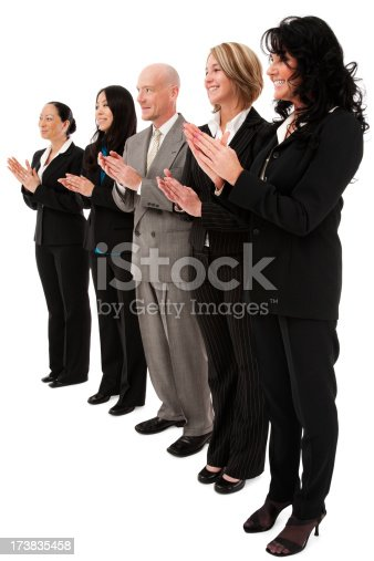istock Multicultural diverse business team in a row clapping women man 173835458