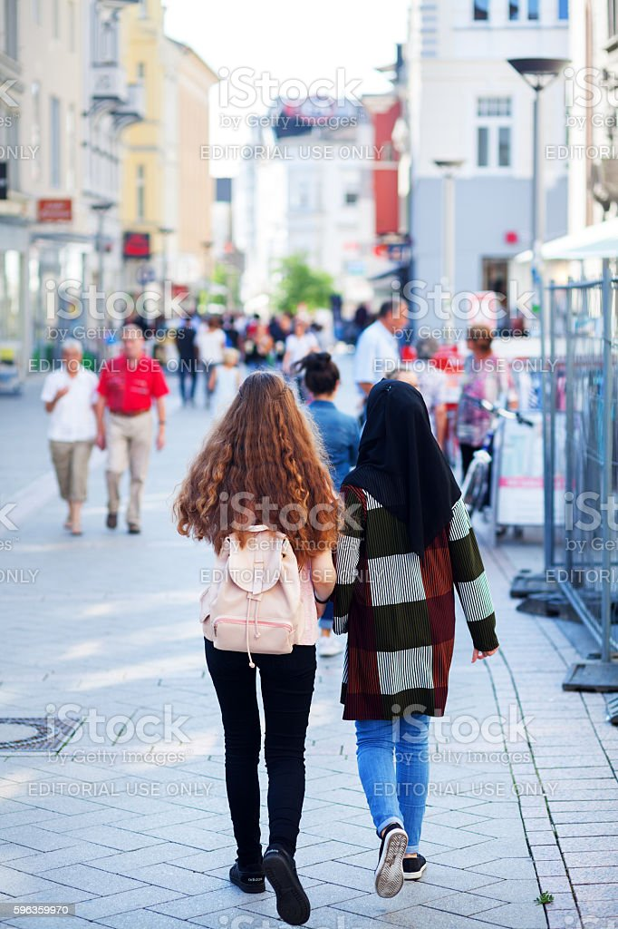 Multicultural female friends royalty-free stock photo