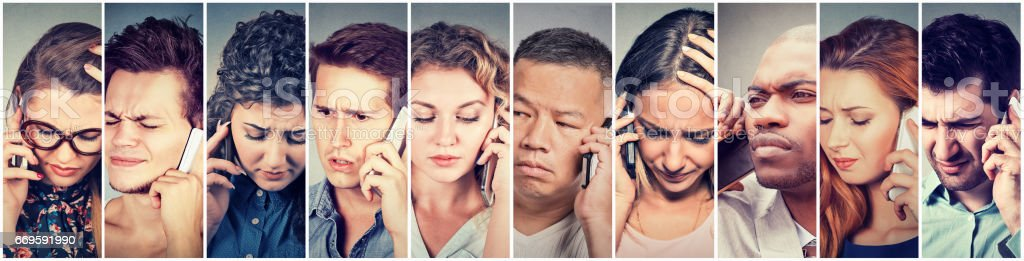 Multicultural group of sad people talking on mobile phone stock photo