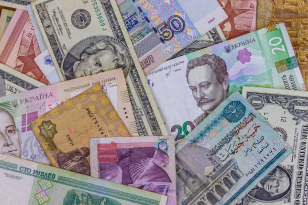 multicurrency background of us dollars, russian rubles, belarusian rubles, egyptian pounds and ukrainian hryvnias - global finance stock pictures, royalty-free photos & images