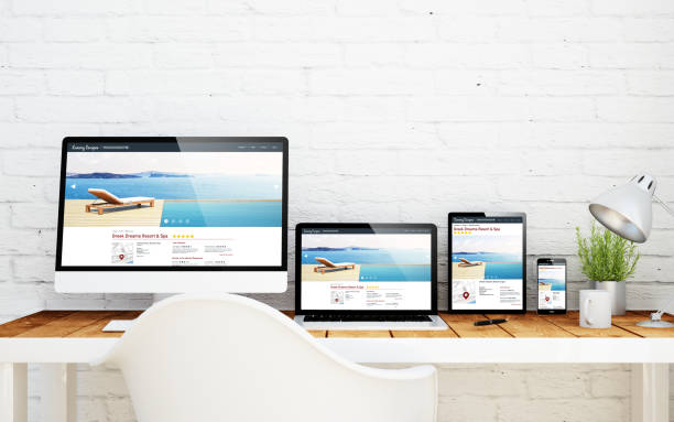 multidevice desktop resort and spa online - web designer stock photos and pictures