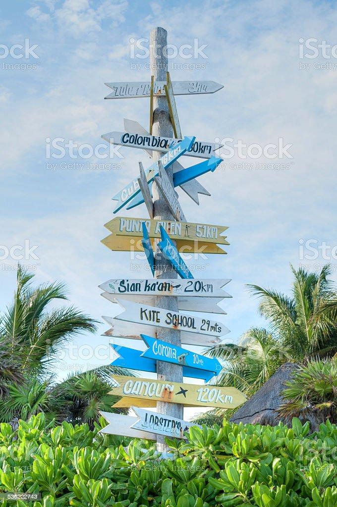 Multi-directional tourist sign stock photo