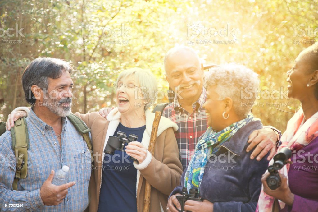 Multi-ethnic, active senior adult friends hiking in wooded forest area. stock photo