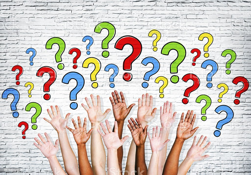 Multi-Ethnic Arms Outstretched To Ask Questions stock photo
