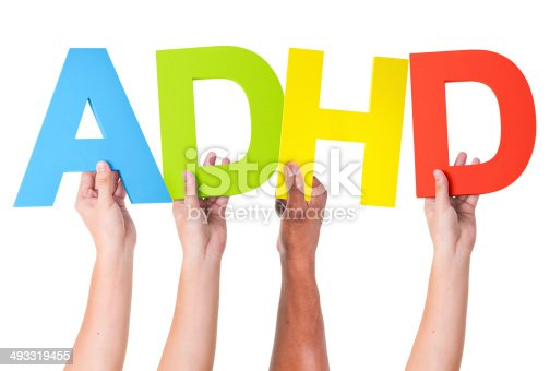 Multiethnic Arms Raised Holding Word ADHD