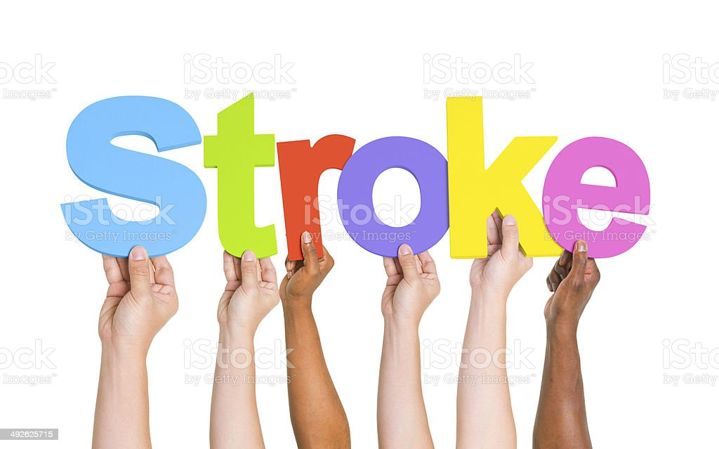 Multiethnic Arms Raised with Text Stroke royalty-free stock photo