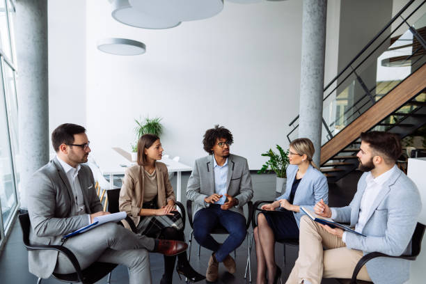 Multi-ethnic business meeting for new start up stock photo