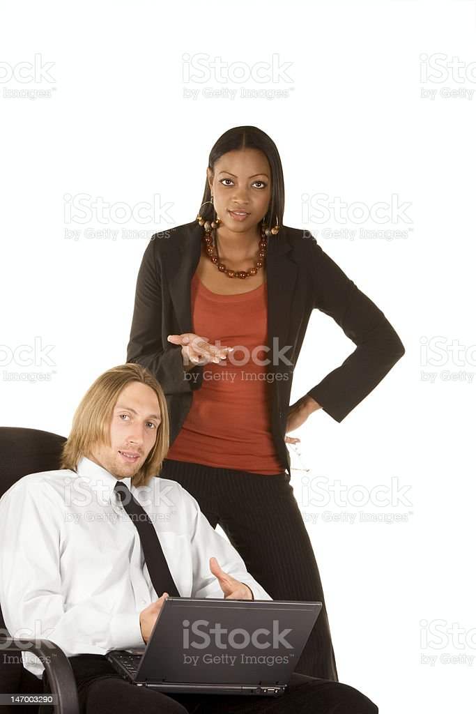 Multiethnic business people offer you help royalty-free stock photo