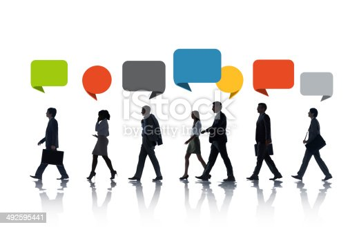 istock Multiethnic Business People Walking in a Row with Speech Bubble 492595441