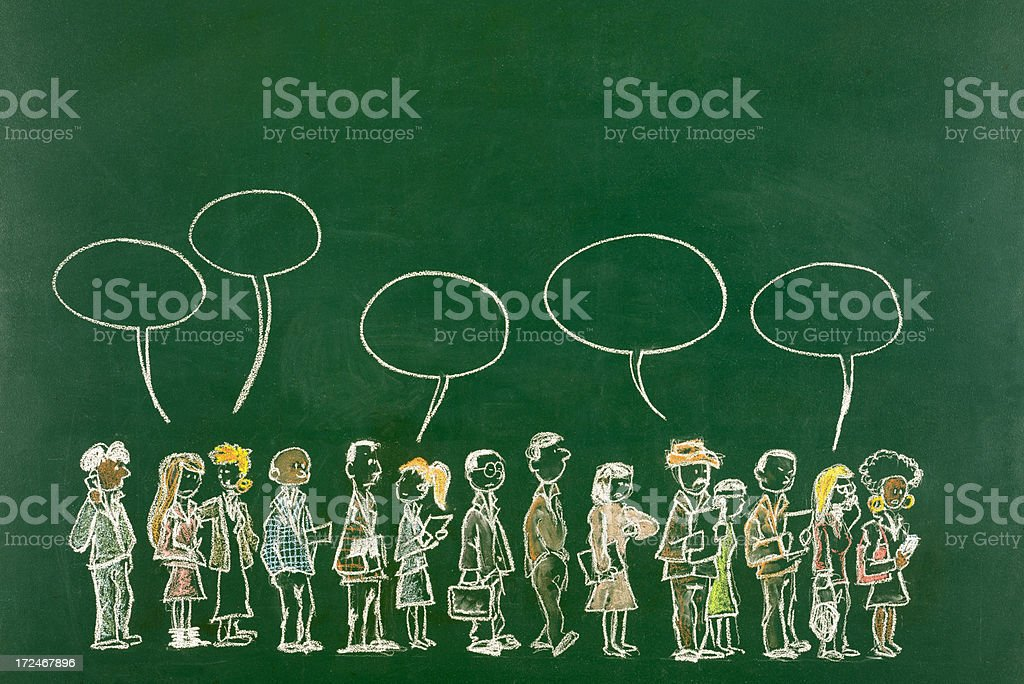 Multi-Ethnic Business Persons Waiting in Line royalty-free stock photo