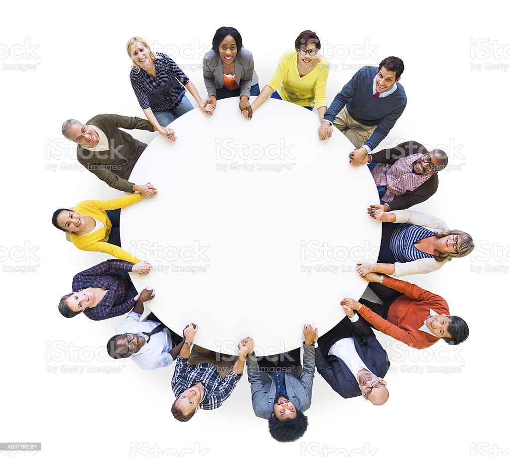 Multiethnic Cheerful People United Looking Up stock photo