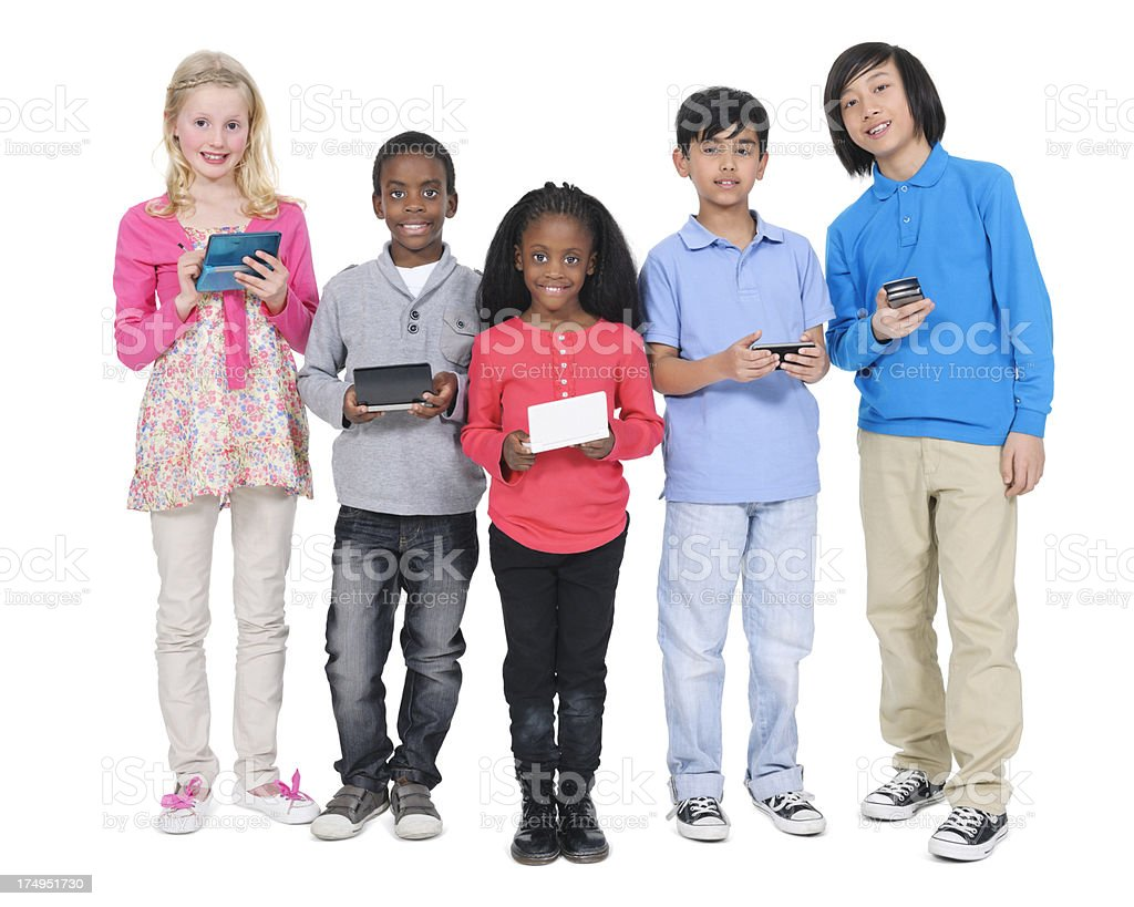 Multi-ethnic Children With Mobile Phones And Gamepads royalty-free stock photo
