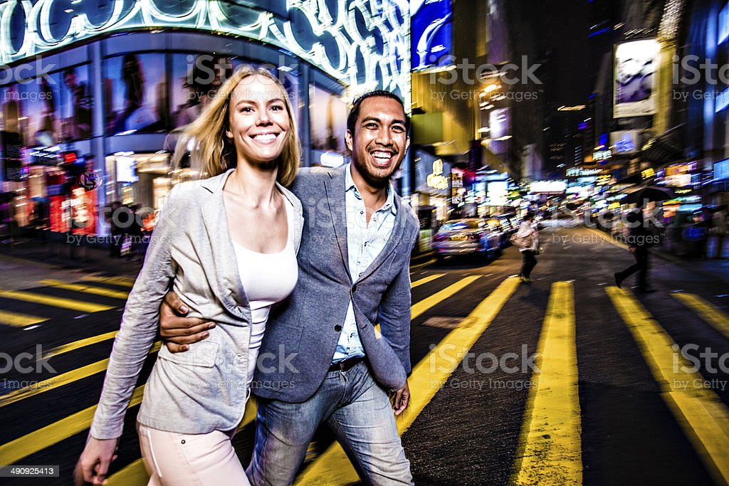 Multi-ethnic couple in Hong Kong stock photo