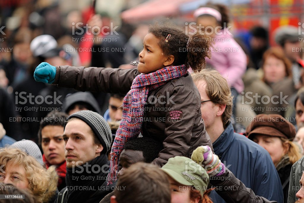 Multi-ethnic crowd participating in an anti-racism protest stock photo