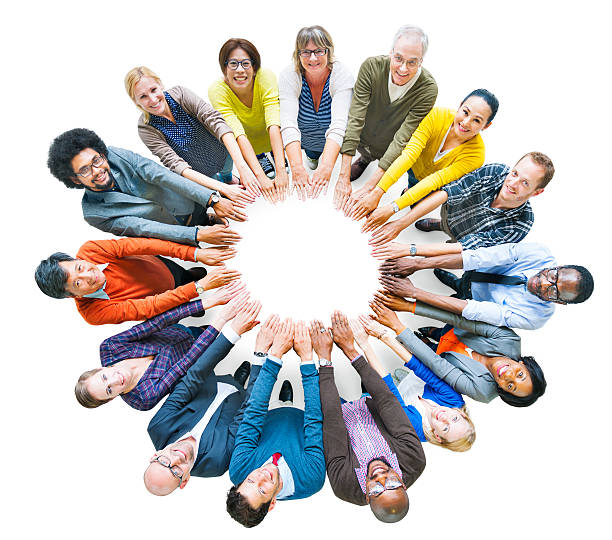 Multi-ethnic Diverse Group of People In Circle stock photo