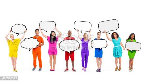 638013502istockphoto Multiethnic Diverse People Holding Blank Speech Bubbles 488563373