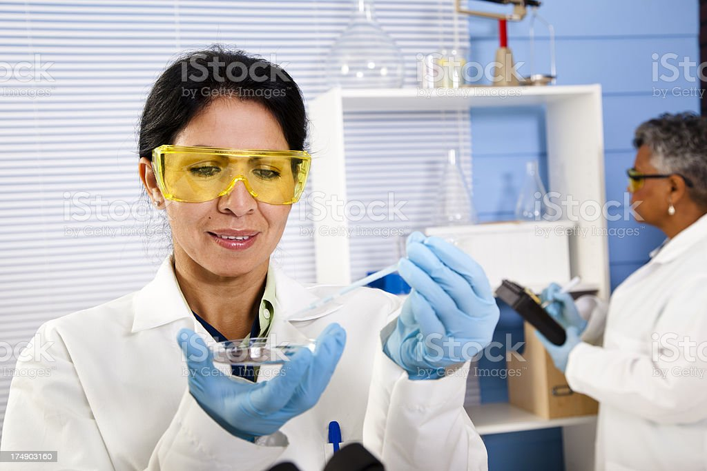 Multi-ethnic doctors, scientists running tests and recording data royalty-free stock photo