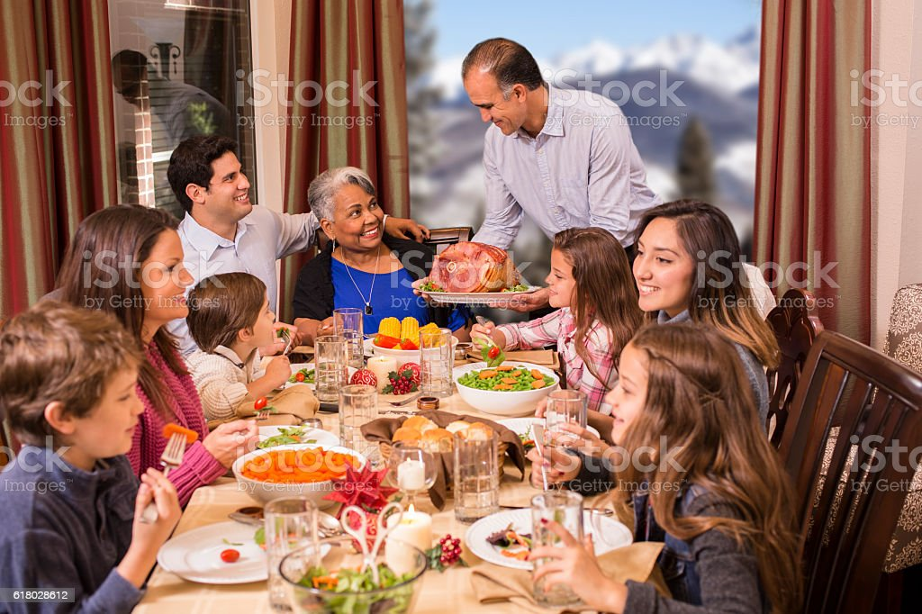 Multi-ethnic family enjoying Christmas dinner at grandmother's home. stok fotoğrafı