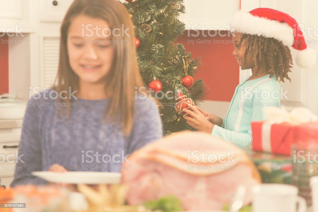 Multi-ethnic group of family members all work together in a home...