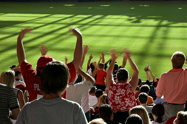 multi-ethnic fans standing, cheering in stands. baseball, soccer stadium. - baseball sport stock photos and pictures