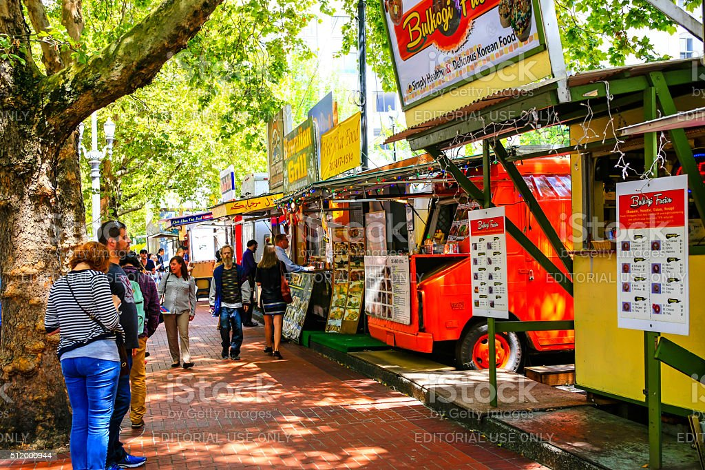 Multi-ethnic fast-food vendors in downtown Portland, Oregon stock photo