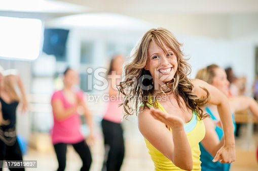 Group of Multi-Ethnic people in a fitness dance class