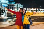 Multiethnic female friendship enjoying together in Skopje.
