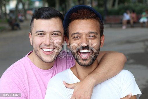 Multiethnic gay couple in the park.