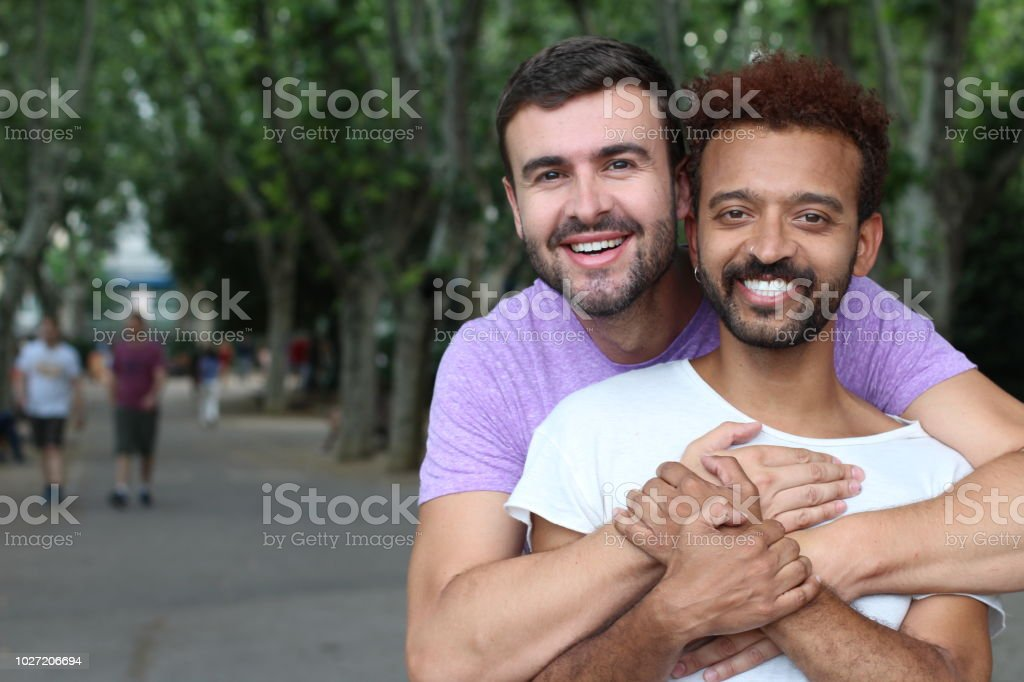 Multiethnic gay couple in the park stock photo