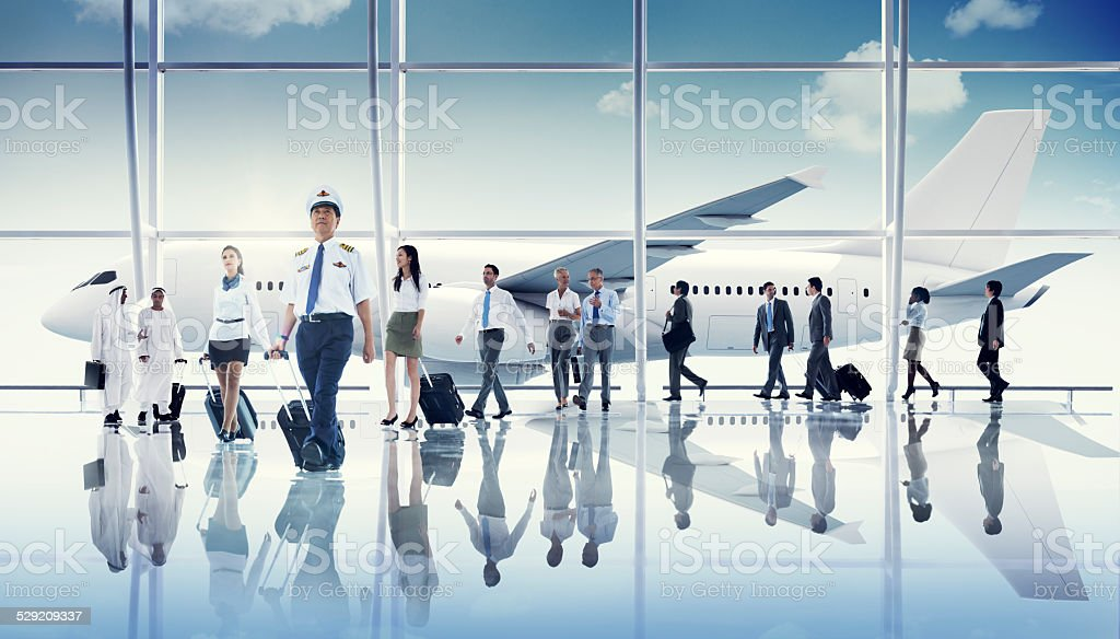 Multiethnic Group of Business People with Airplane stock photo