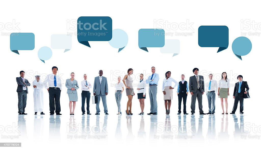 Multiethnic Group of Business People with Speech Bubbles stock photo