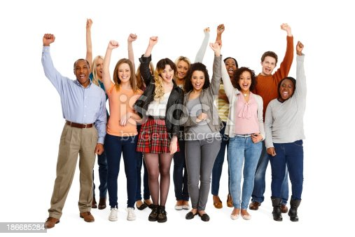 istock Multi-ethnic group of casual people celebrating 186685284