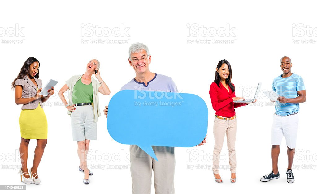 Multi-ethnic group of casual people with social media royalty-free stock photo