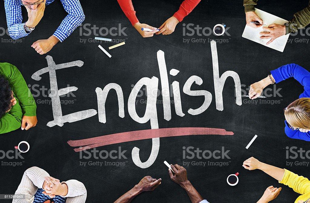 Groupe multiethnique d'enfants et anglais Concept - Photo