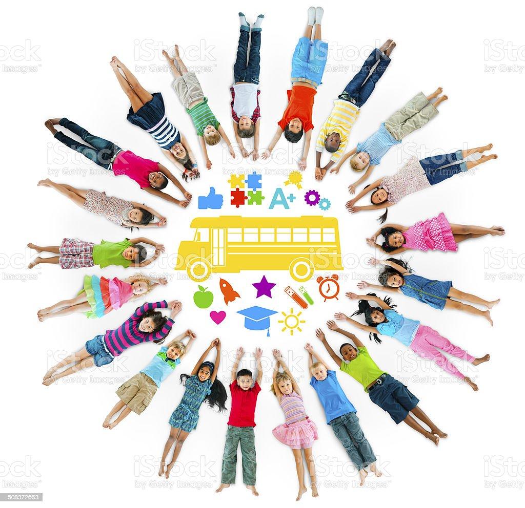 Multiethnic Group of Children and School Concept stock photo