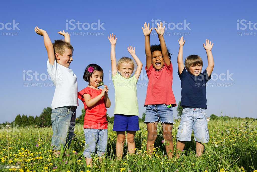 Multi-Ethnic Group Of Children Outdoors stock photo