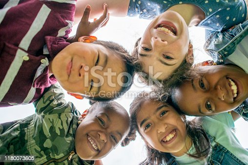 Group of Multi-ethnic school aged children gathering outside together