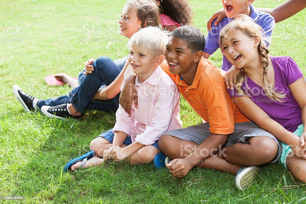 Multi-ethnic group of children stock photo