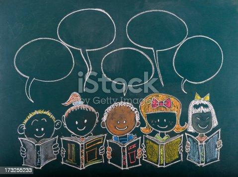 istock Multi-Ethnic Group of Children Sketched on Blackboard 173255233