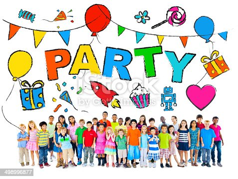 502282224 istock photo Multiethnic Group of Children with Party Concepts 498996877
