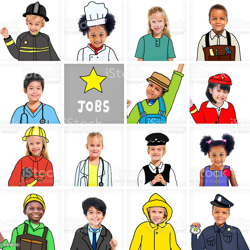 Multiethnic Group of Children with Various Jobs Concepts stock photo