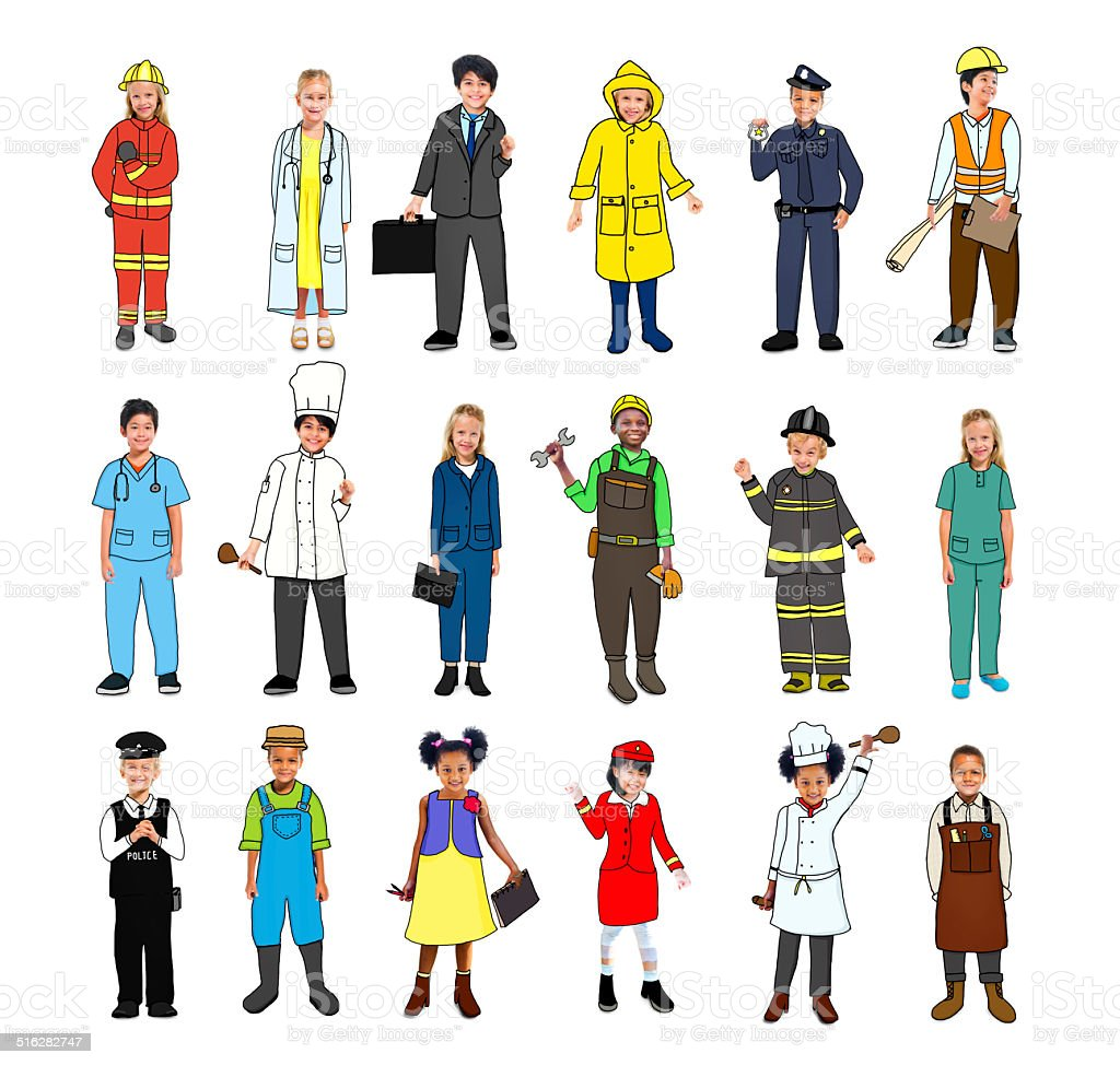Multiethnic Group of Children with Various Occupations Concept stock photo