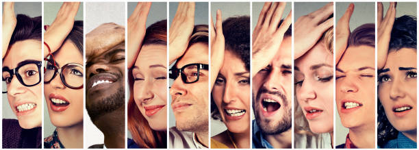 Multiethnic group of desperate regretful people men women stock photo