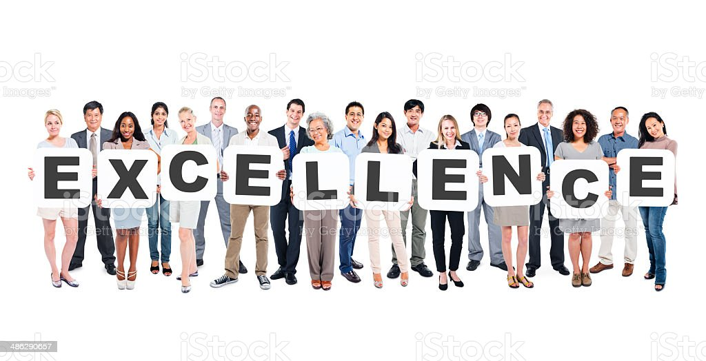 Multi-Ethnic Group Of Diverse People Holding Letters That Form E stock photo